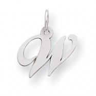 Sterling Silver Small Fancy Script Initial W Charm