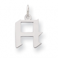 Sterling Silver Small Artisian Block Initial H Charm