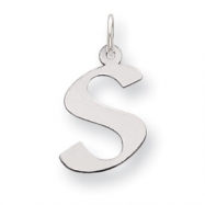 Sterling Silver Medium Artisian Block Initial S Charm