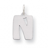 Sterling Silver Bubble Block Initial N Charm