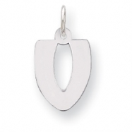 Sterling Silver Bubble Block Initial V Charm