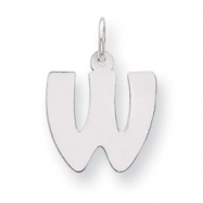 Sterling Silver Bubble Block Initial W Charm
