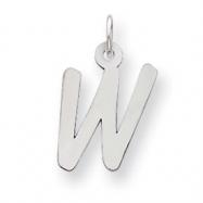 Sterling Silver Medium Initial W Charm