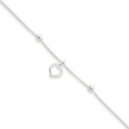 Sterling Silver Box Chain With Heart Anklet