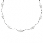 Sterling Silver White Cultured Pearl w/2 Extension Necklace chain