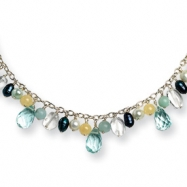 Sterling Silver Blue Crystal/Cultured Pearl/Green Agate/Jade Necklace chain