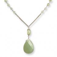Sterling Silver Prehnite/Green Rutilated Quartz Necklace chain