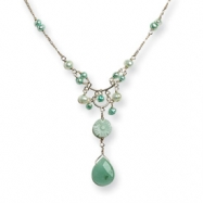 Sterling Silver Amazonite/Freshwater Cultured Green Pearl Necklace chain