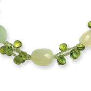 Sterling Silver Green Jade/Green Crystal/Peridot Necklace chain