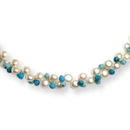 Sterling Silver Cultured Button Pearl/Dyed Howlite/Turquoise Necklace chain