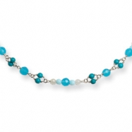 Sterling Silver Howlite/Blue Quartz/White Jade Necklace chain
