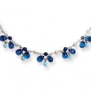 Sterling Silver Blue Crystal/Lapis/Amazonite/Cultured Pearl Necklace chain