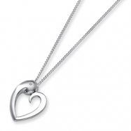 Sterling Silver & Diamond Heart Pendant Necklace