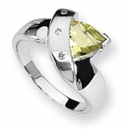 Sterling Silver Lemon Quartz & Diamond Ring