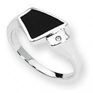 Sterling Silver Onyx & Diamond Ring