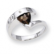 Sterling Silver Smokey Quartz & Diamond Ring
