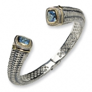 Sterling Silver w/14k Antiqued Peridot/Blue Topaz Hinged Bangle Bracelet