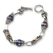 Sterling Silver w/14k Black FW Cultured Pearl 7.5in Bracelet
