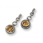 Sterling Silver/Gold-plated Citrine Post Earrings