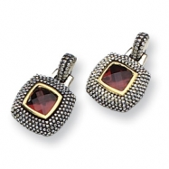 Sterling Silver/Gold-plated Antiqued Garnet Earrings