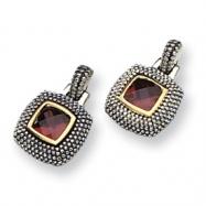Sterling Silver/Gold-plated Antiqued Garnet Earrings