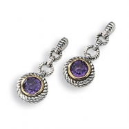 Sterling Silver/Gold-plated Antiqued Amethyst Earrings