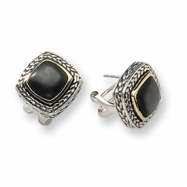 Sterling Silver w/14k Black Mother of Pearl Antiqued Post Earrings