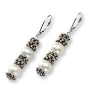Sterling Silver w/14k FW Cultured Pearl Antiqued Earrings