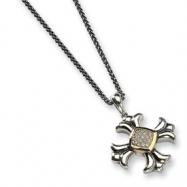 Sterling Silver w/14k Diamond Maltese Cross 18in Necklace