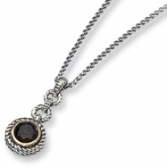 Sterling Silver/Gold-plated Smokey Quartz Antqiued 18in Necklace