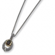 Sterling Silver/Gold-plated Smokey Quartz Antiqued 18in Necklace