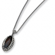 Sterling Silver Smokey Quartz Antiqued 18in Necklace