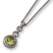 Sterling Silver/Gold-plated Peridot 18in Necklace