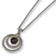 Sterling Silver/Gold-plated Garnet 18in Necklace