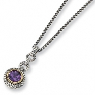 "Sterling Silver/Gold-plated Antiqued Amethyst 18"" Necklace"