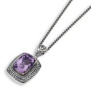 "Sterling Silver w/14k Antiqued Amethyst & Diamond 20"" Necklace"