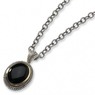 Sterling Silver w/14k Diamond & Onyx Antiqued 20in Necklace