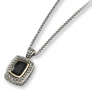 Sterling Silver w/14k Black Mother of Pearl Antiqued 18in Necklace