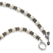 Sterling Silver w/14k FW Cultured Pearl Antiqued 20in Necklace