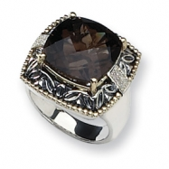 Sterling Silver w/14k Diamond & Smokey Quartz Ring