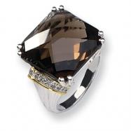 Sterling Silver w/14k Diamond & Smokey Quartz Ring