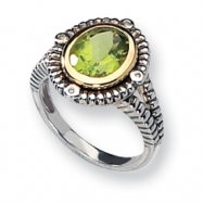Sterling Silver w/14k Antiqued Diamond & Peridot Ring