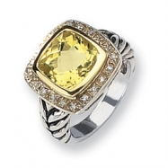 Sterling Silver w/14k Diamond & Lemon Quartz Ring
