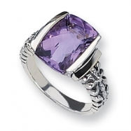 Sterling Silver Antiqued w/14k Amethyst Ring
