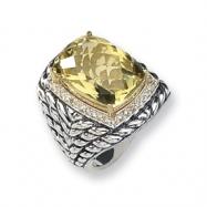 Sterling Silver w/14k Diamond & Lemon Quartz Ring
