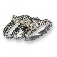 Sterling Silver w/14k & Diamond 3 Stackable Rings ring
