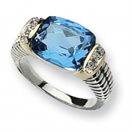 Sterling Silver w/14k Antiqued Diamond & Blue Topaz Ring