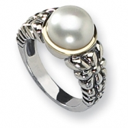 Sterling Silver w/14k Cultured Pearl Ring