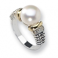 Sterling Silver w/14k Diamond & FW Cultured Pearl Ring