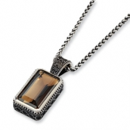 Sterling Silver Smokey Quartz Antiqued 18in Pendant